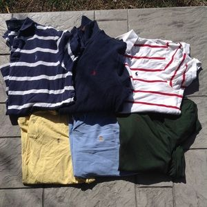 Six Mens polo shirts.